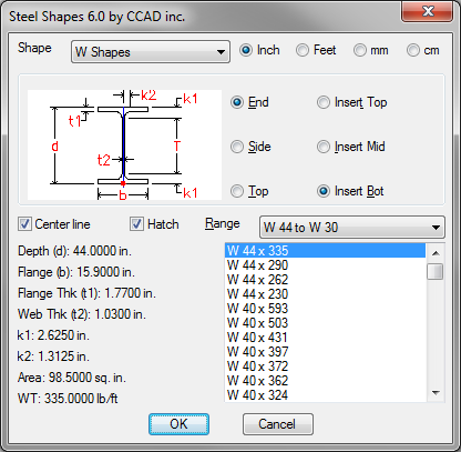 Steel Shapes Dialog Box